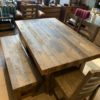 Gray Barn Fairview Reclaimed Wood Extending Dining Table w/ Bench & 4 Chairs