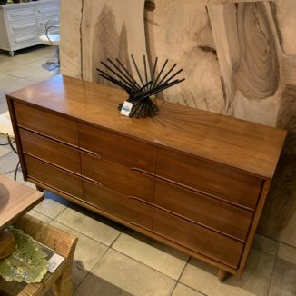 MCM Walnut Lowboy 9 Drawer Dresser w/ Carved Pulls