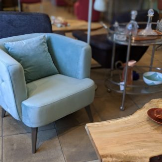 Teal Tufted Velvet Club Chair